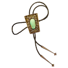 Old Southwest Silver Turquoise Bolo Tie Huge Turquoise Stone