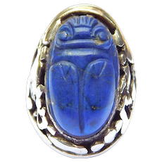 Arts And Crafts Lapis Carved Scarab Egyptian Silver Ring