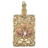 Art Nouveau Ornate Chatelaine Dance Card Pendant