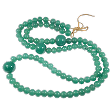 Early Chinese Peking Glass Necklace Large Beads