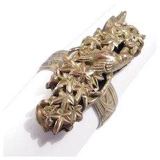 Silver Artisan Ring Japanese Shakudo Menuki With Bird
