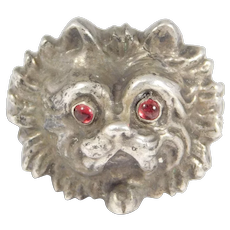 French Victorian High Relief Dog Head Ring Unusual Silver