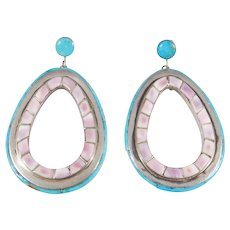 Sterling Southwest Turquoise And Shell Earrings