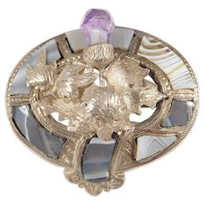 Victorian Scottish Agate Thistle Brooch As Is Silver