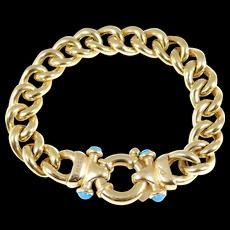 Sterling Vermeil Turquoise Cable Link Designer Bracelet