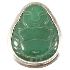 Silver Carved Jade Buddha Brooch Chinese