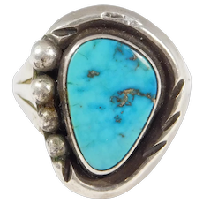 Older Southwest Natural Turquoise Ring Silver