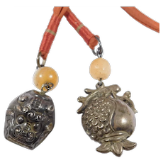 Old Chinese Repousse Bell Pendants With Agate On Silk