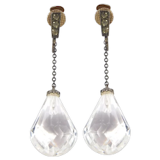 Art Deco Paste Gold And Silver Drop Crystal Earrings