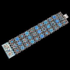Old Wide Ornate Chinese Cloisonne Enamel Bracelet