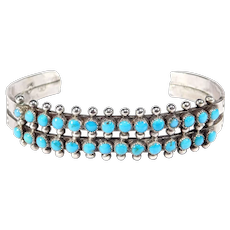Old Stamped Double Row Snake Eye Turquoise Zuni Cuff