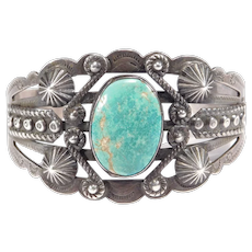 Fred Harvey Era Navajo Coin Silver Turquoise Cuff Bracelet
