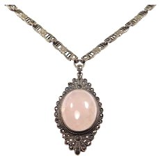 Art Deco Filigree Rose Quartz Marcasite Necklace