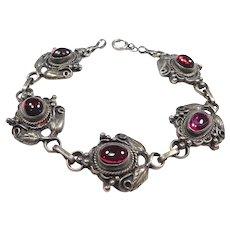 Ornate Sterling Cabochon Garnets Deco Bracelet Lovely