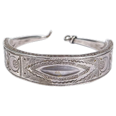Heavy Ethnic Silver Engraved Berber Cuff Bracelet