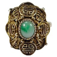 Chinese Silver Filigree Jade Ring Vermeil Beautiful