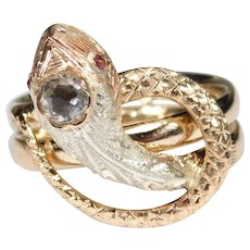 Rare 14k Rose Gold Victorian Snake Ring Ornate