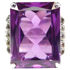 Bold Retro Synthetic Alexandrite Silver Ring By Uncas