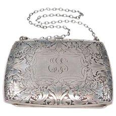 Ornate Sterling Silver Nouveau Blackinton Vanity Purse