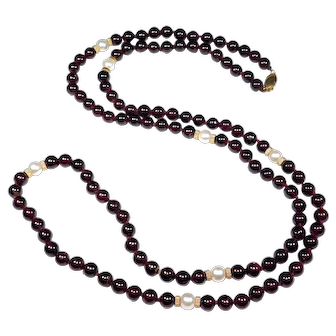 Polished Garnet Beads With 14k Spacers And Cultured Pearls