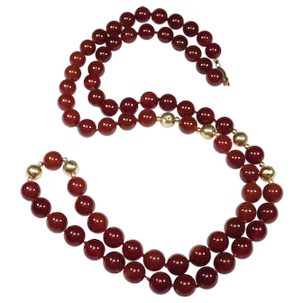 14k Estate 9mm Natural Carnelian Agate Beads Necklace