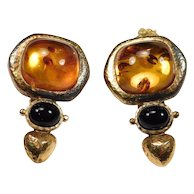 Kylo Kai Yin Lo Amber And Onyx Vermeil Earrings