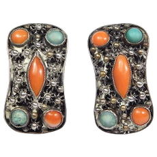 Old Chinese Coral Turquoise Silver Stud Earrings