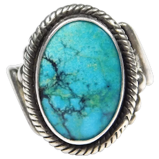 Signed Navajo Turquoise Sterling Ring Popovitch