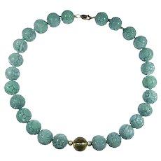 Estate Fine Carved Natural Jade Bead Necklace