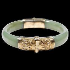 Carved Jade And Ornate Silver Antique Bangle Bracelet