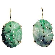 14k Carved Jade Earrings Art Deco Kidney Wires