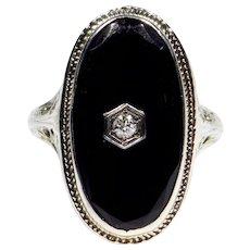 18k Filigree Onyx Diamond Art Deco Ring 1920
