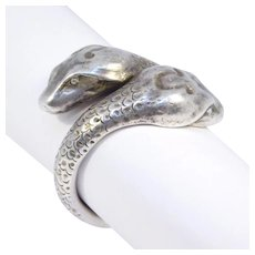 Art Deco Sterling Double Snake Head Ring Signed Hand Hammered