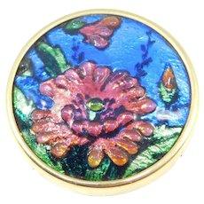 J. Brevers French Enamel Fused Glass Brooch Stunning