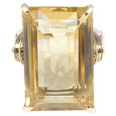 Art Deco 14k Emerald Cut Citrine Ring Over 15 Carats Striking