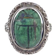 Art Deco Egyptian Carved Scarab Silver Ring Spins
