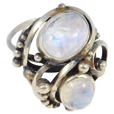 Arts And Crafts Silver Moonstone Ring Ornate