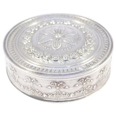 Antique French Silver Repousse Pill Box Beautiful
