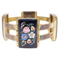 French Ornate Victorian Enamel Floral Bracelet