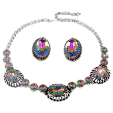 Vintage Schiaparelli Watermelon Crystal Necklace Earrings Set