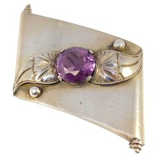 Art Deco Silver Synthetic Alexandrite Brooch 1930