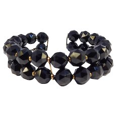 Victorian Faceted Black Onyx 14k Rose Gold Bracelet