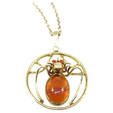 Deco Amber Spider Necklace Silver Gilt Unusual