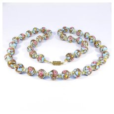 Italian Pastel Blue Venetian Glass Wedding Cake Beads Necklace