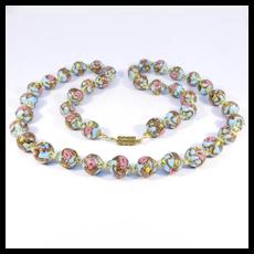 Italian Pastel Blue Venetian Glass Wedding Cake Beads Necklace