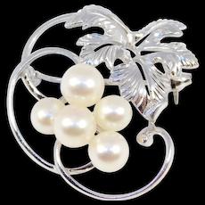Pretty Silver Mikimoto Cultured Pearls Grape Cluster Pin