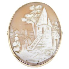 Victorian 10k Gold Scene Cameo Very Detailed Carved Shell