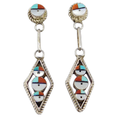 Silver Southwest Turquoise Inlay Work Drop Earrings