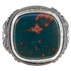 Victorian Silver Bloodstone Agate Ornate Ring
