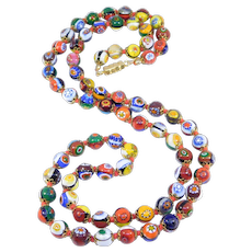 Vintage Italian Millefiori Glass Beads Necklace Knotted